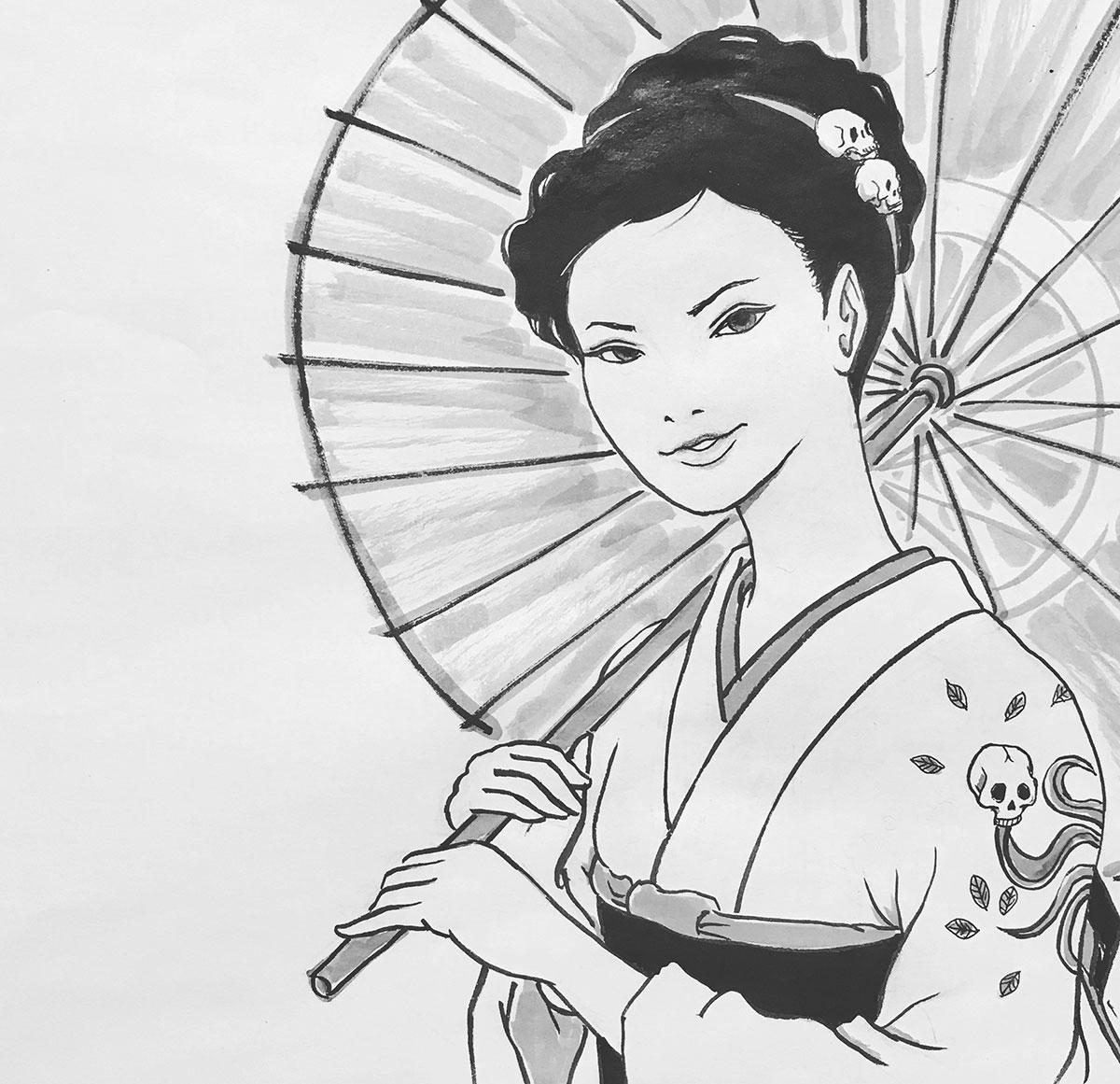 傘を持つ人間の女