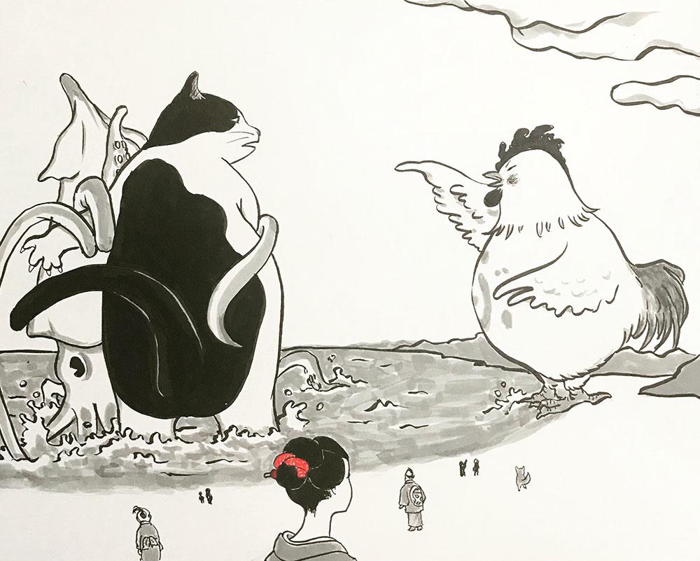 にゃじら対いか大王対変な鶏