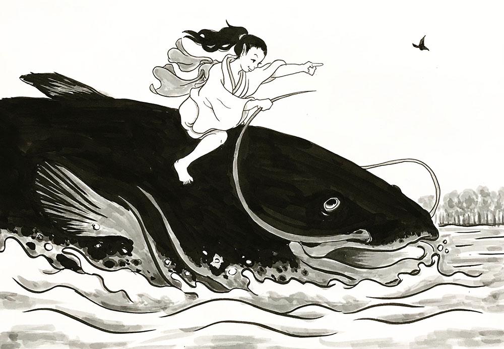 鯰に乗った妖怪
