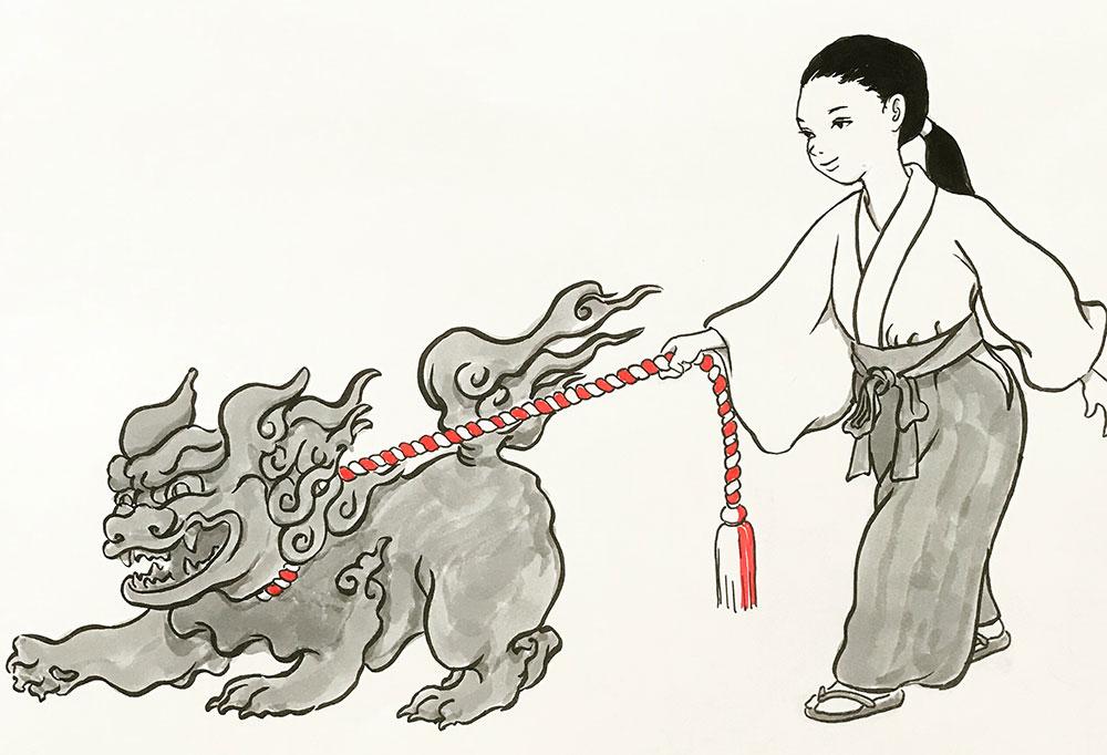 狛犬の散歩