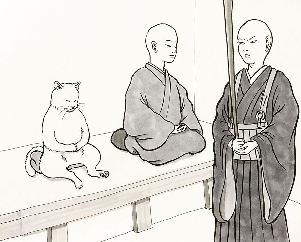 若い猫又の滝修行(座禅) NEKOMATA