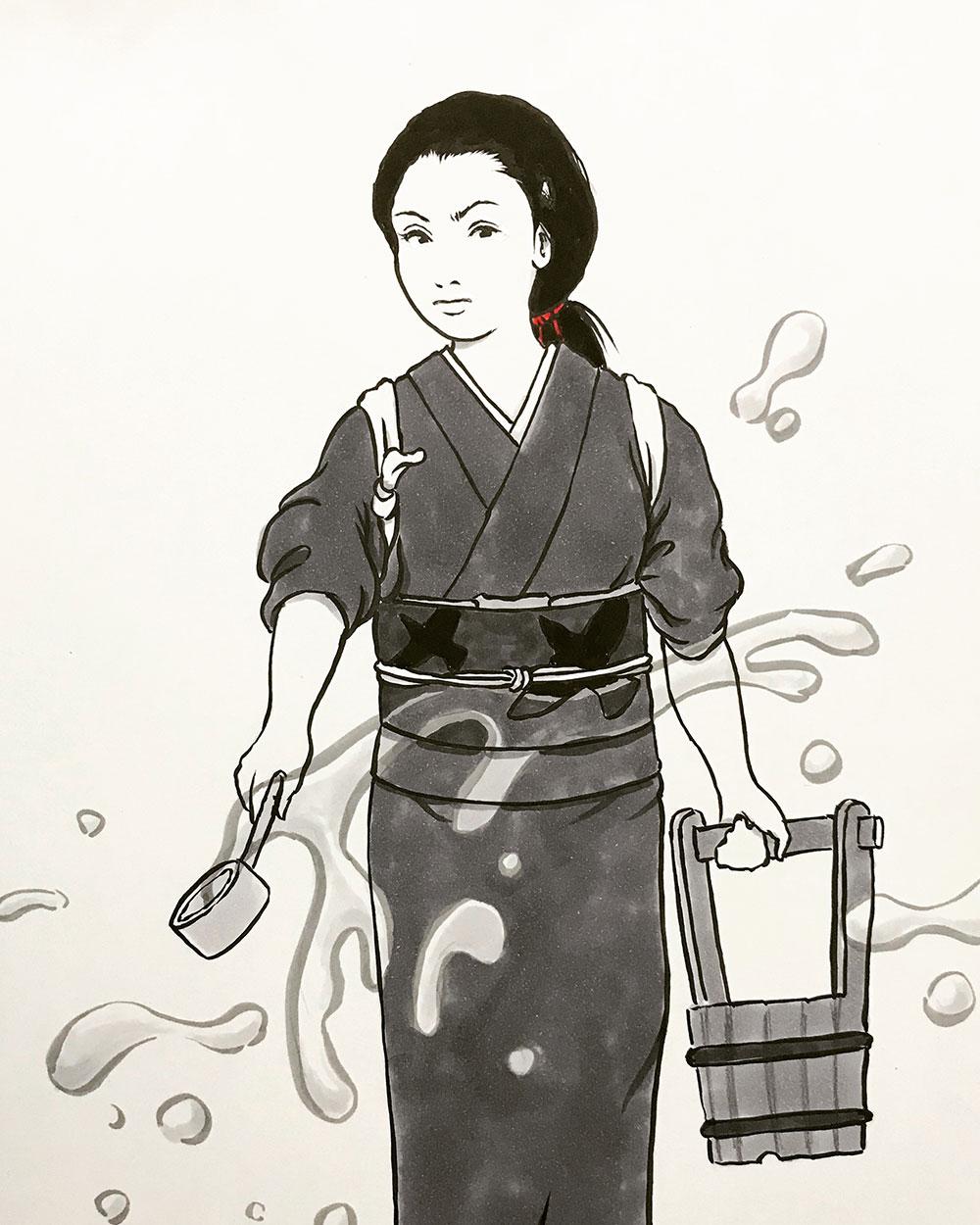 妖怪からすの長女が打ち水 KARASU