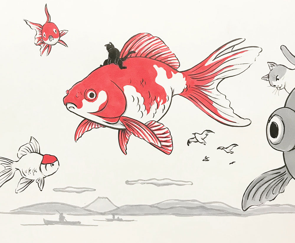 巨大金魚のいる風景(猫付き) KINGYO