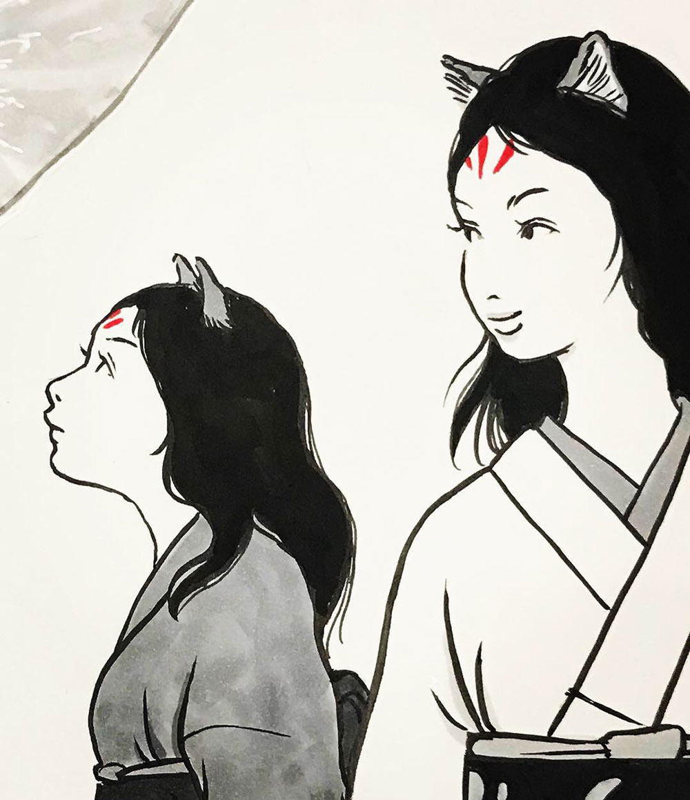 中秋の名月と狐親子 KITSUNE2