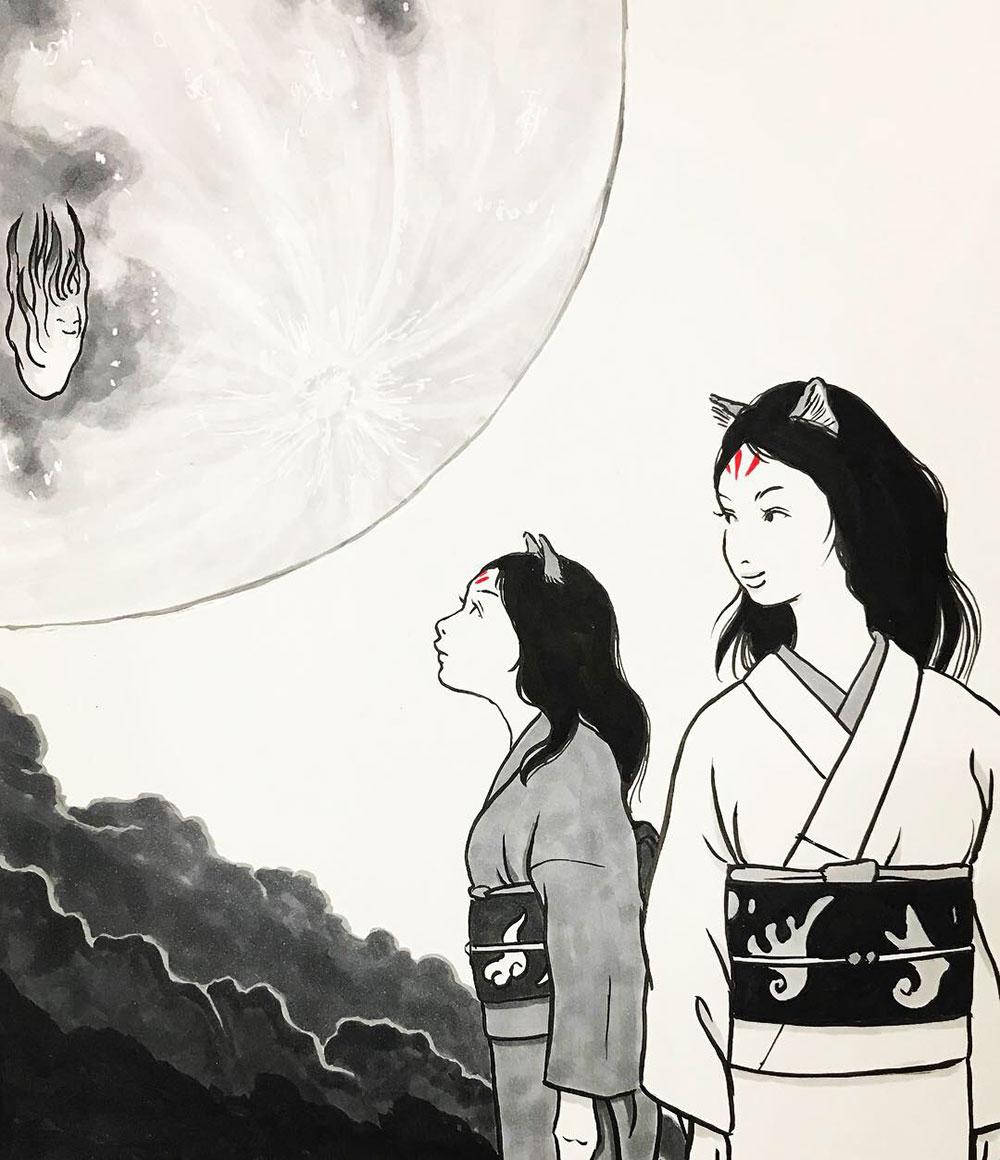 中秋の名月と狐親子 KITSUNE1