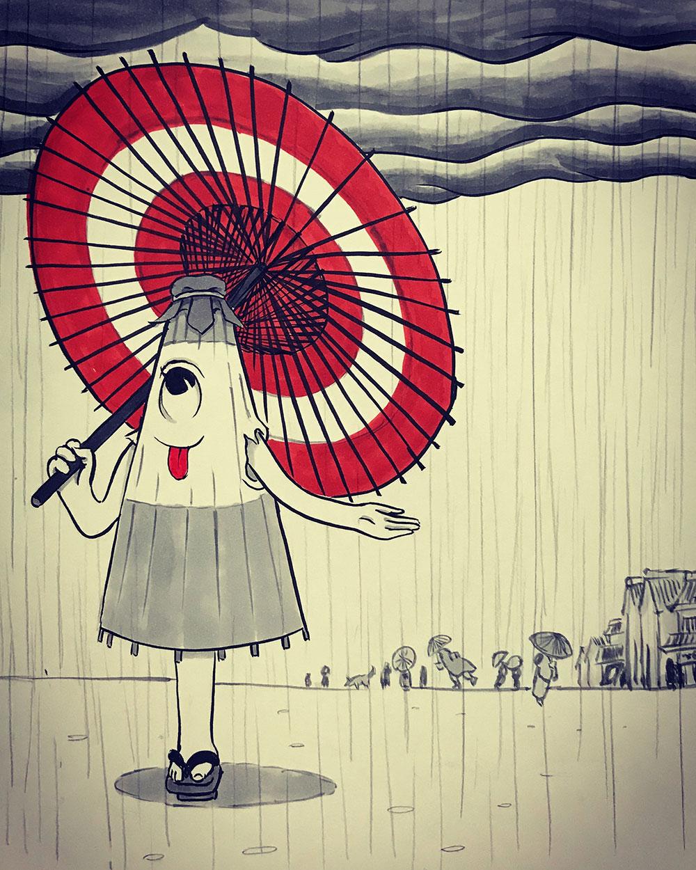 傘をさす唐傘お化け KARAKASA