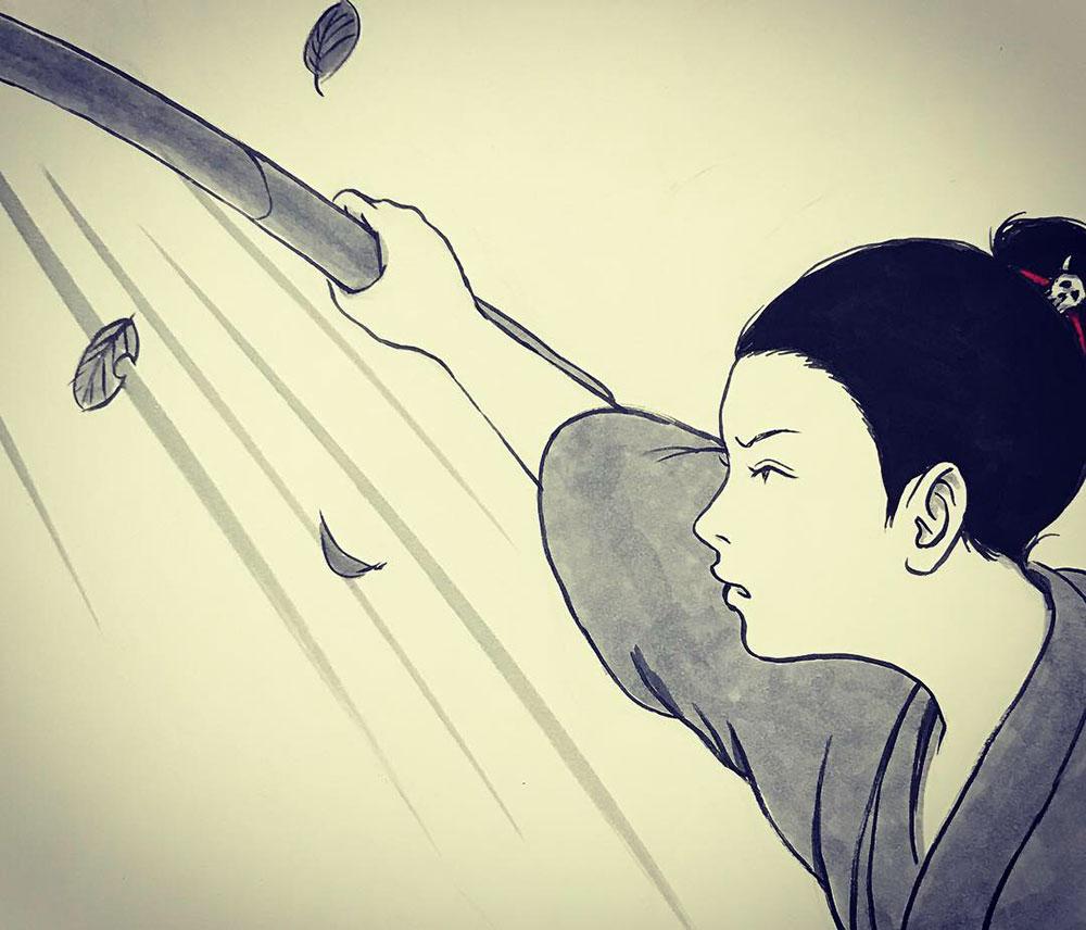 一人稽古に励む師匠 ONNA-SAMURAI2