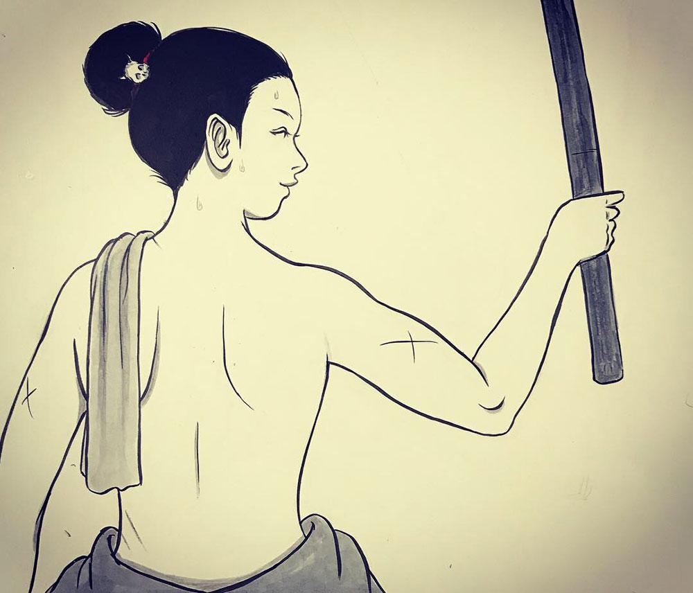 一人稽古に励む師匠 ONNA-SAMURAI3