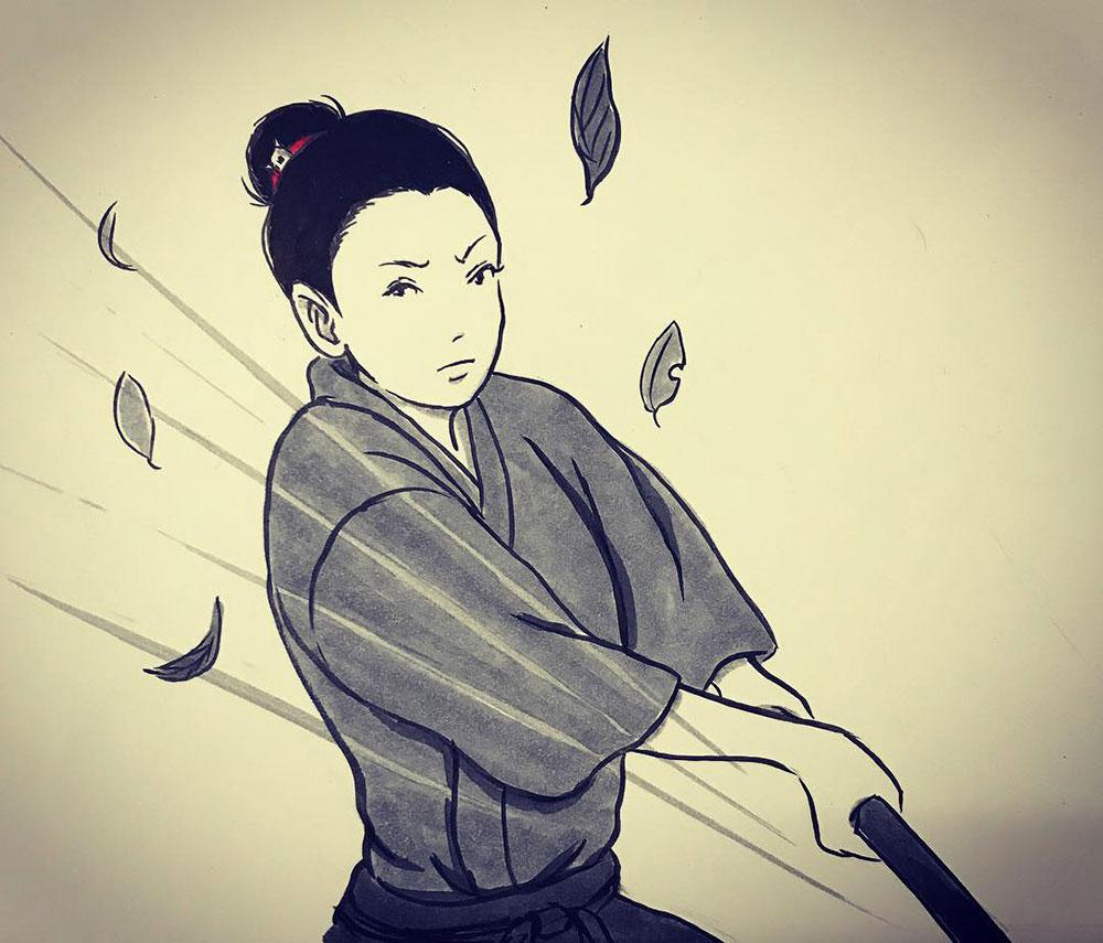 一人稽古に励む師匠 ONNA-SAMURAI1