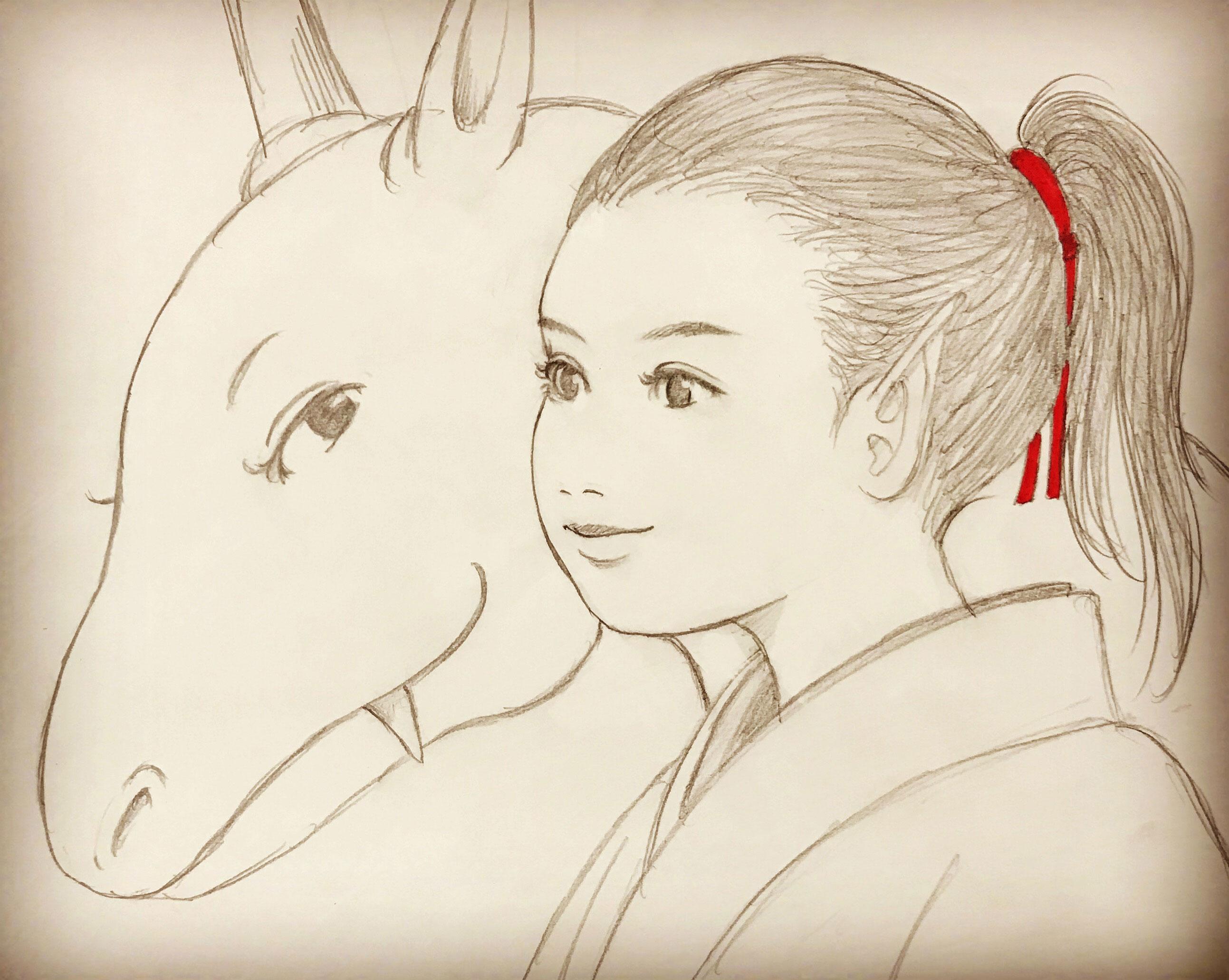烏の黒倭をシャーペン画で KARASU