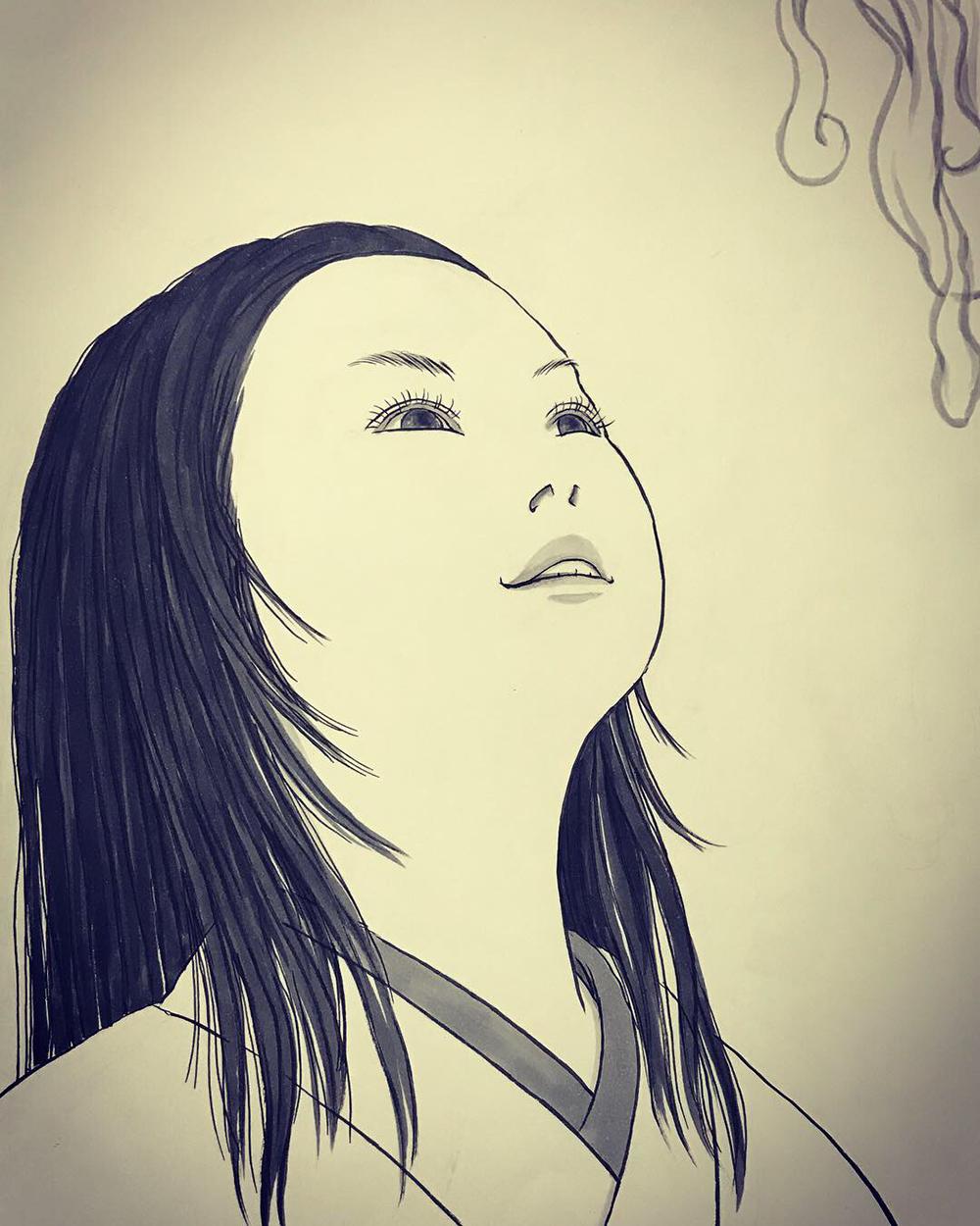 上を見上げる顔の日 MIAGERU1