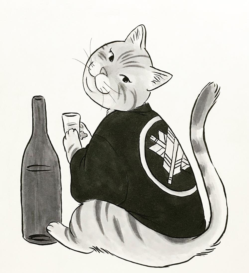 酒を飲んでいる猫 sake-neko1