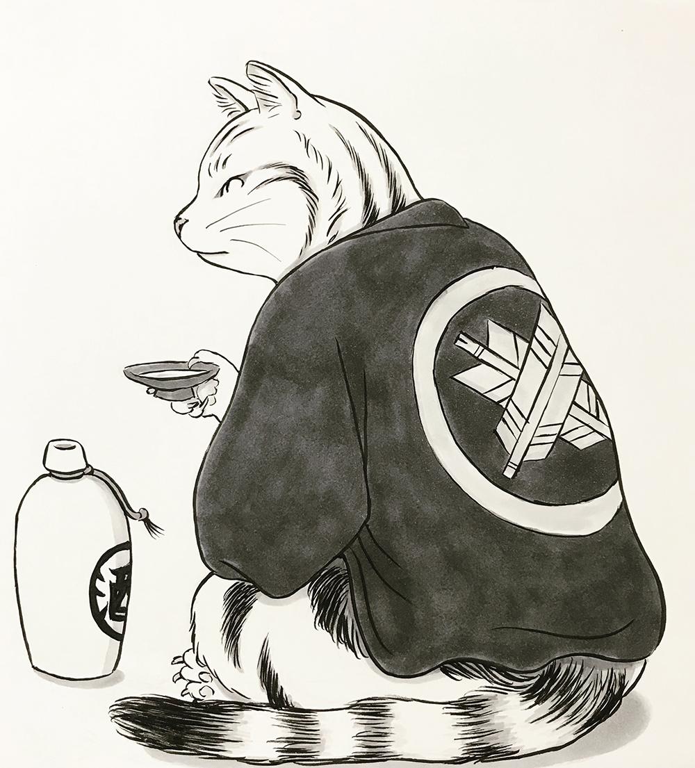 酒を飲んでいる猫2 SAKE-NEKO1