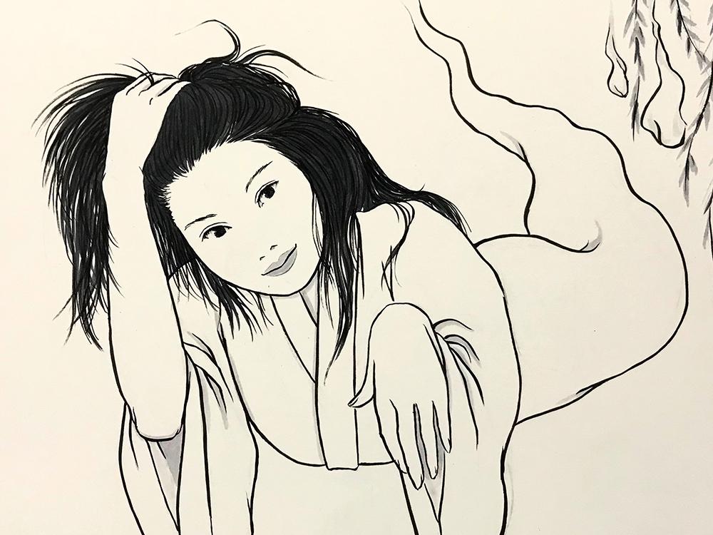 髪をかきあげるおしづ OSHIZU1