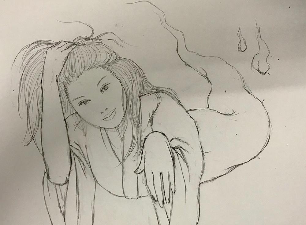 髪をかきあげるおしづ OSHIZU2
