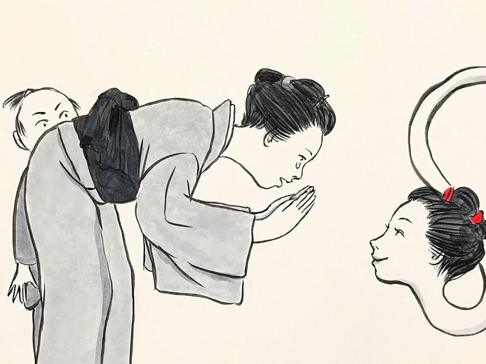 お菊が子供を助ける OKIKU9