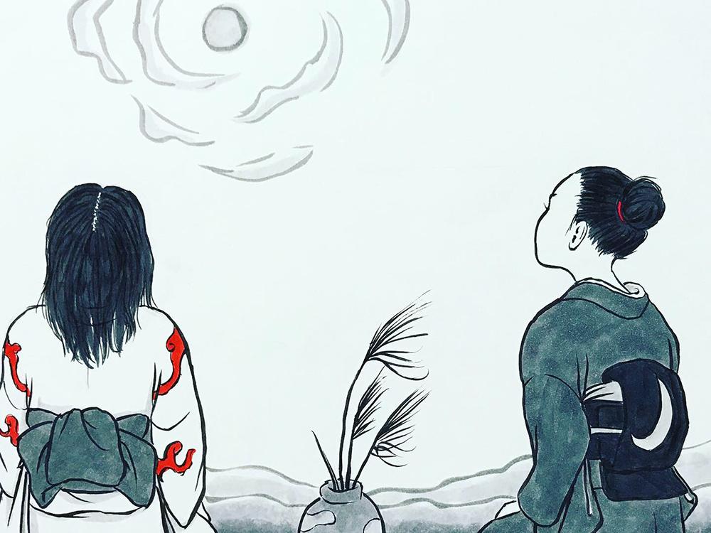 月代とおみよの中秋の名月 MEIGETSU1