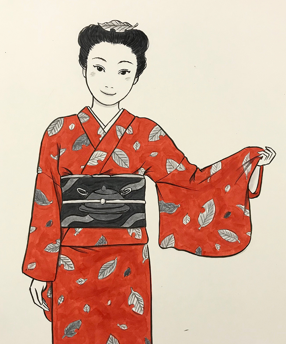 茶子に柄入りの着物をプレゼント TANUKI