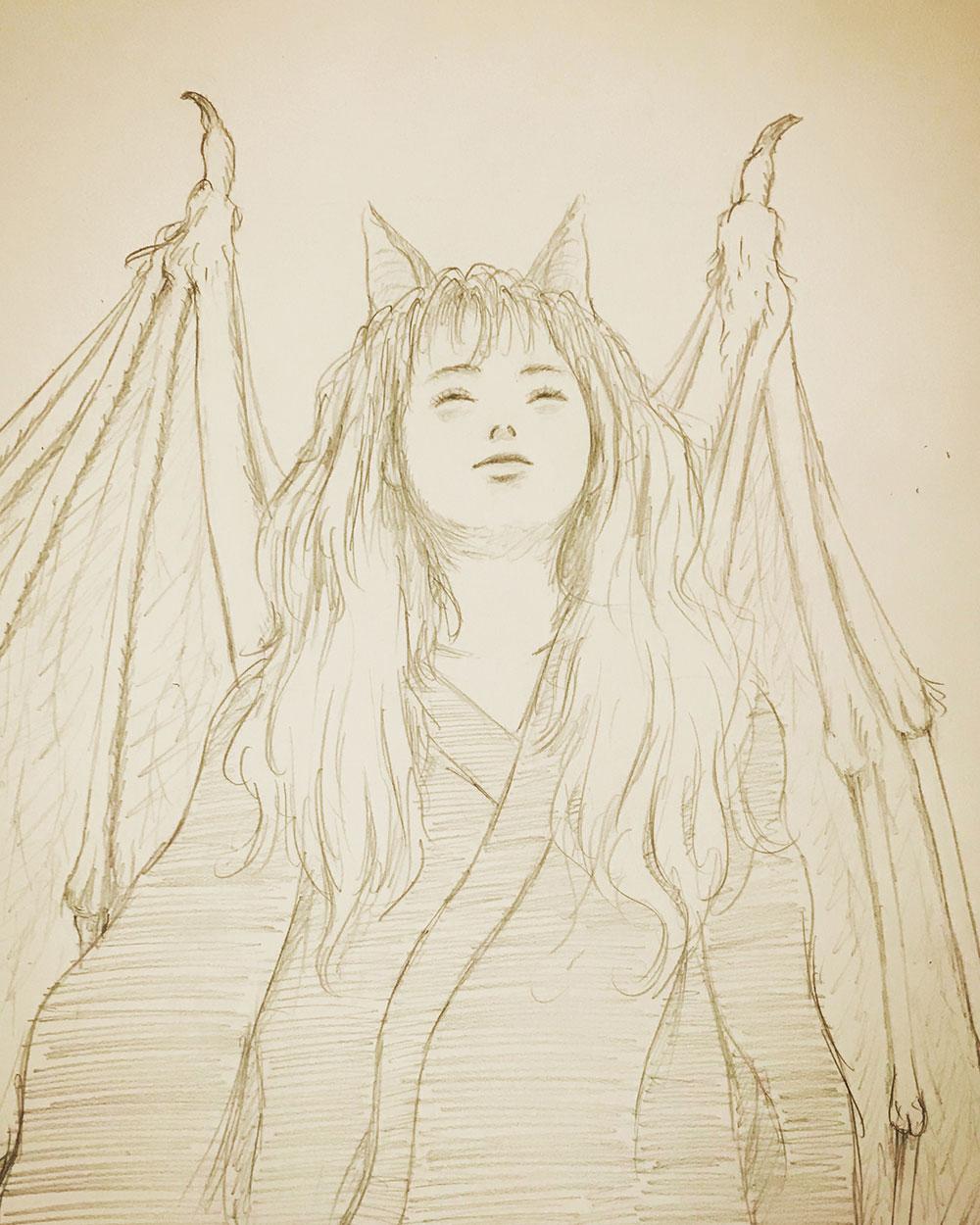 鉛筆画で蝙蝠女 KOMORI