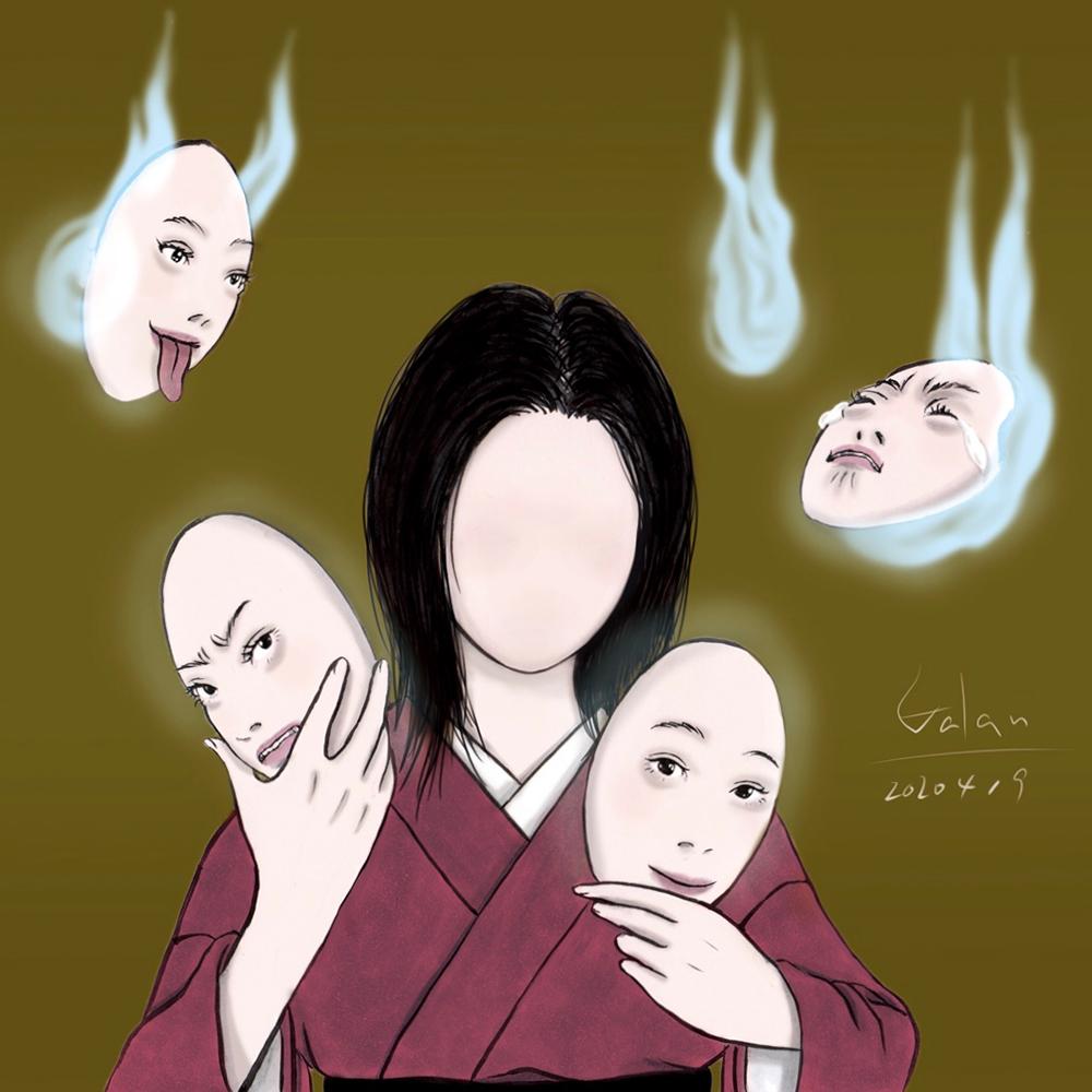 のっぺらぼうのお鶴(color) NOPPERA-BO