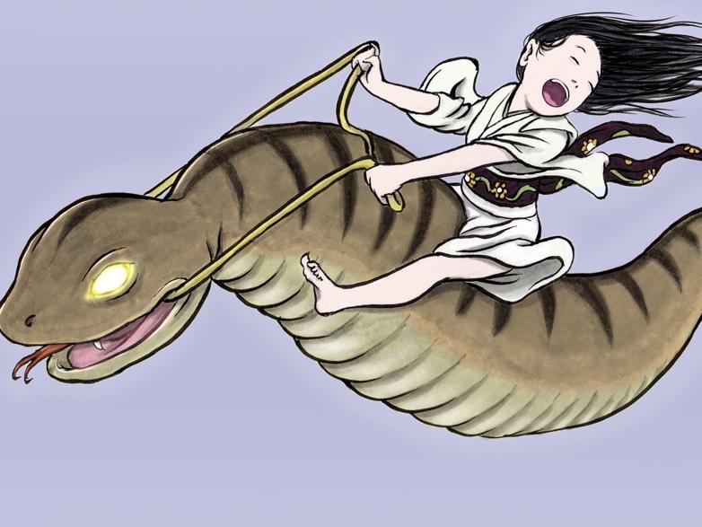 お嬢とツチノコ(color) TSUCHINOKO
