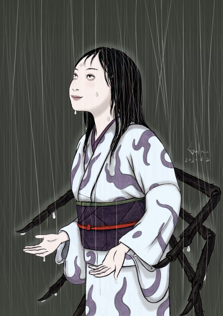雨の中の若女将(color) OKAMI
