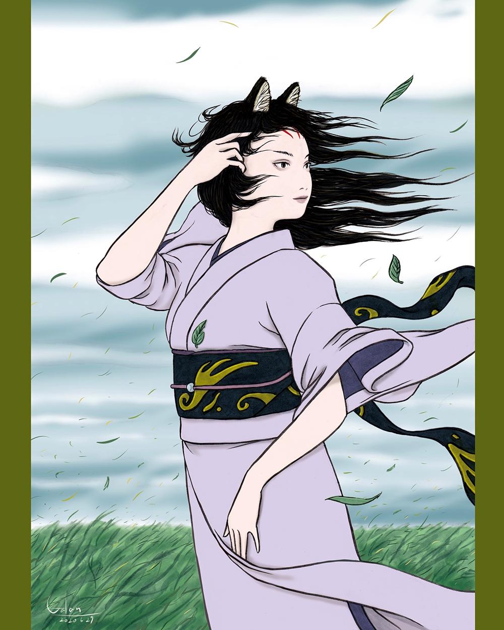 風の中のおこん(color) KITSUNE