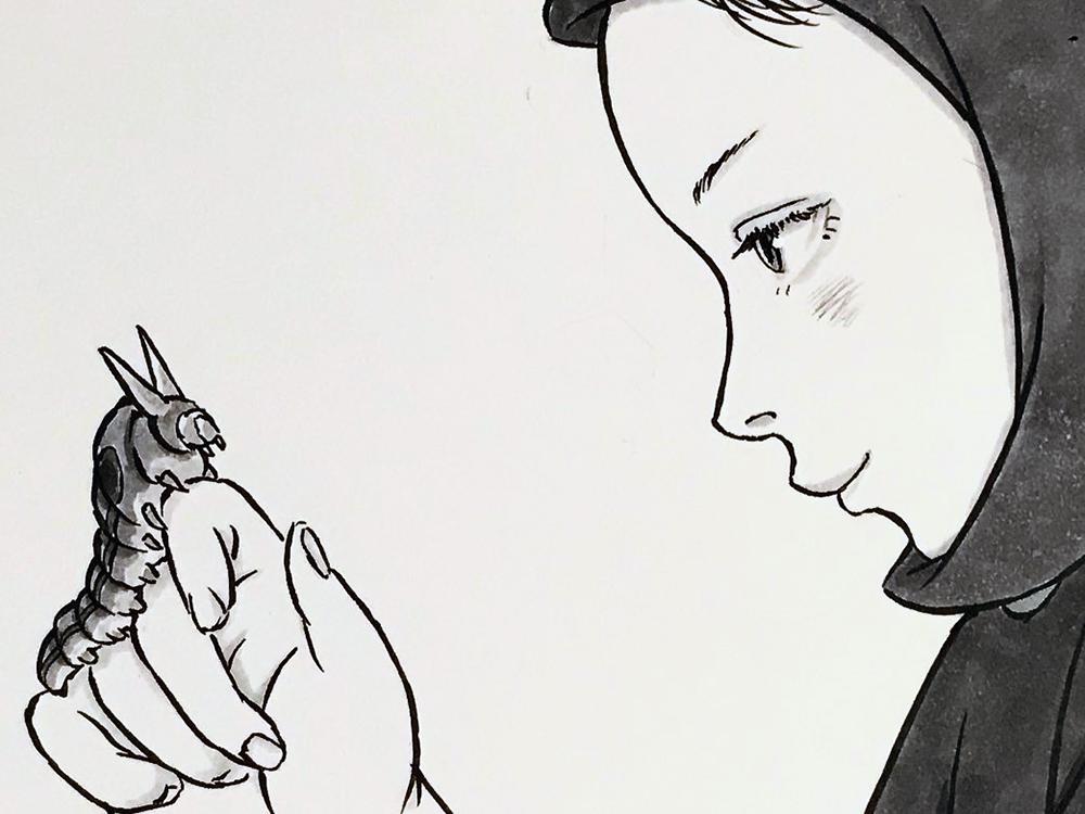 頭巾を被る女2とアゲハの幼虫 ZUKIN