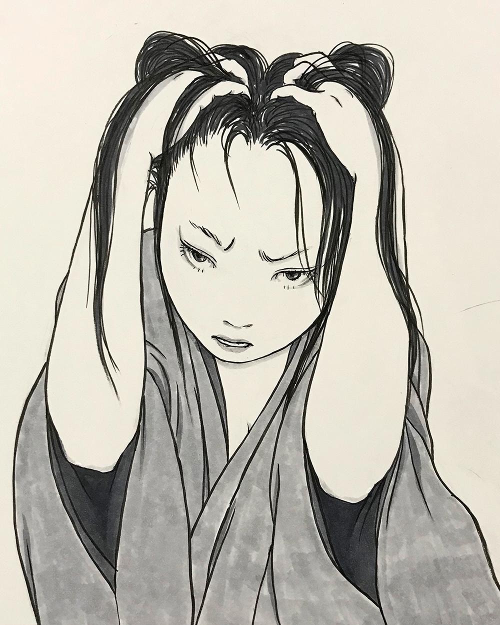 髪を掻きむしる女 KAKIMUSHIRU