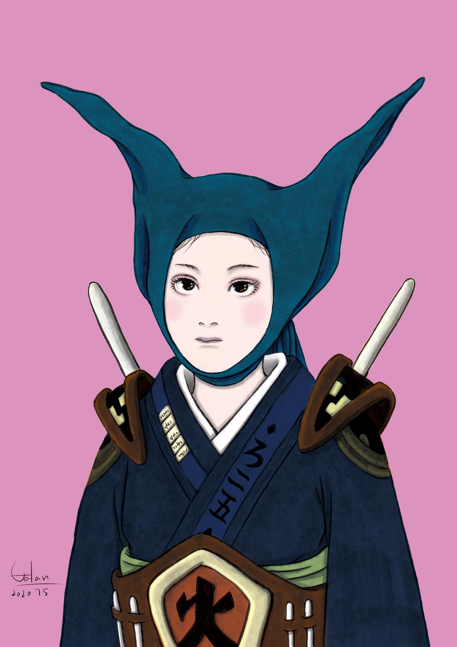 頭巾を被る女2(color) ZUKIN