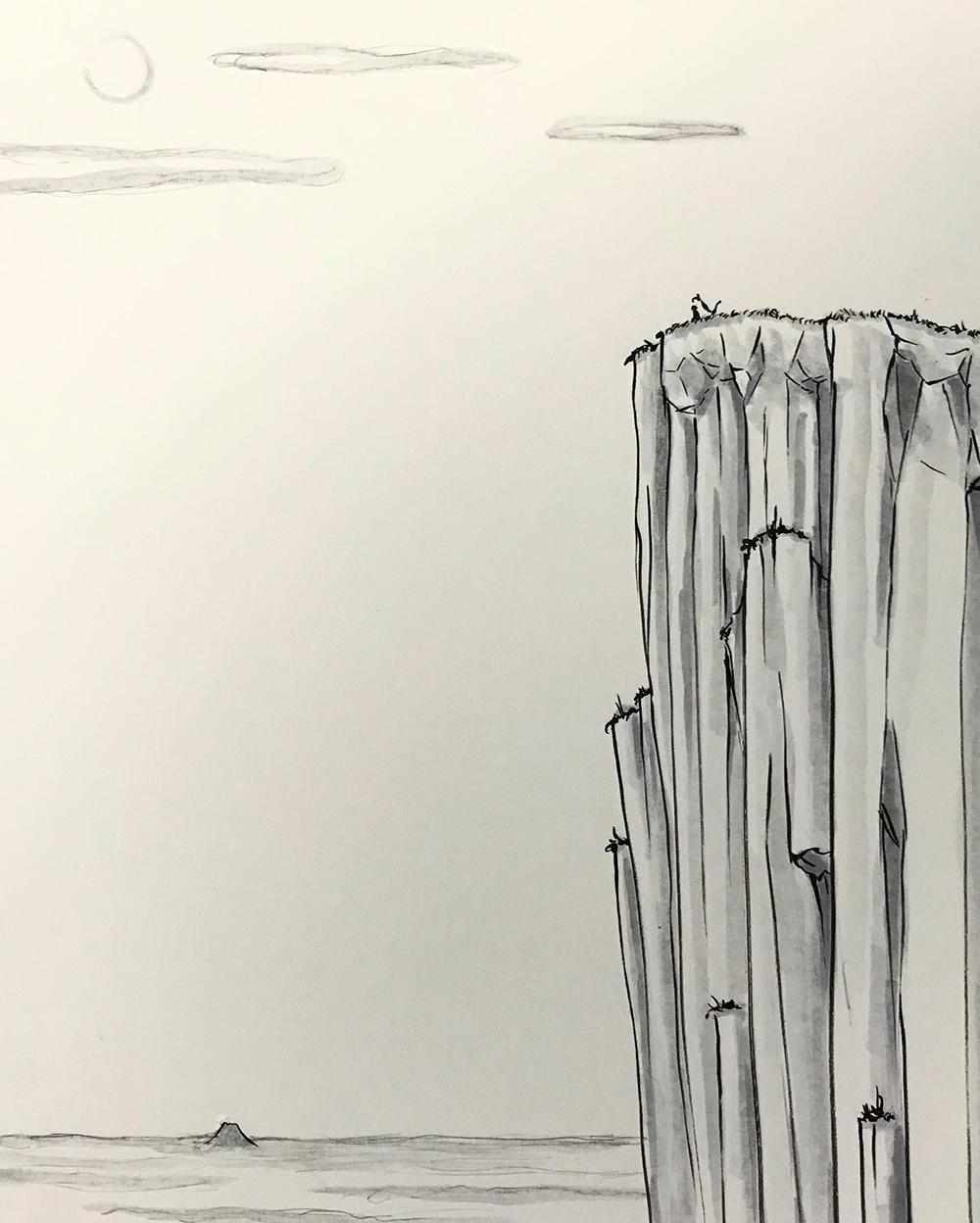 崖の上の黒葉と大猫 KARASU