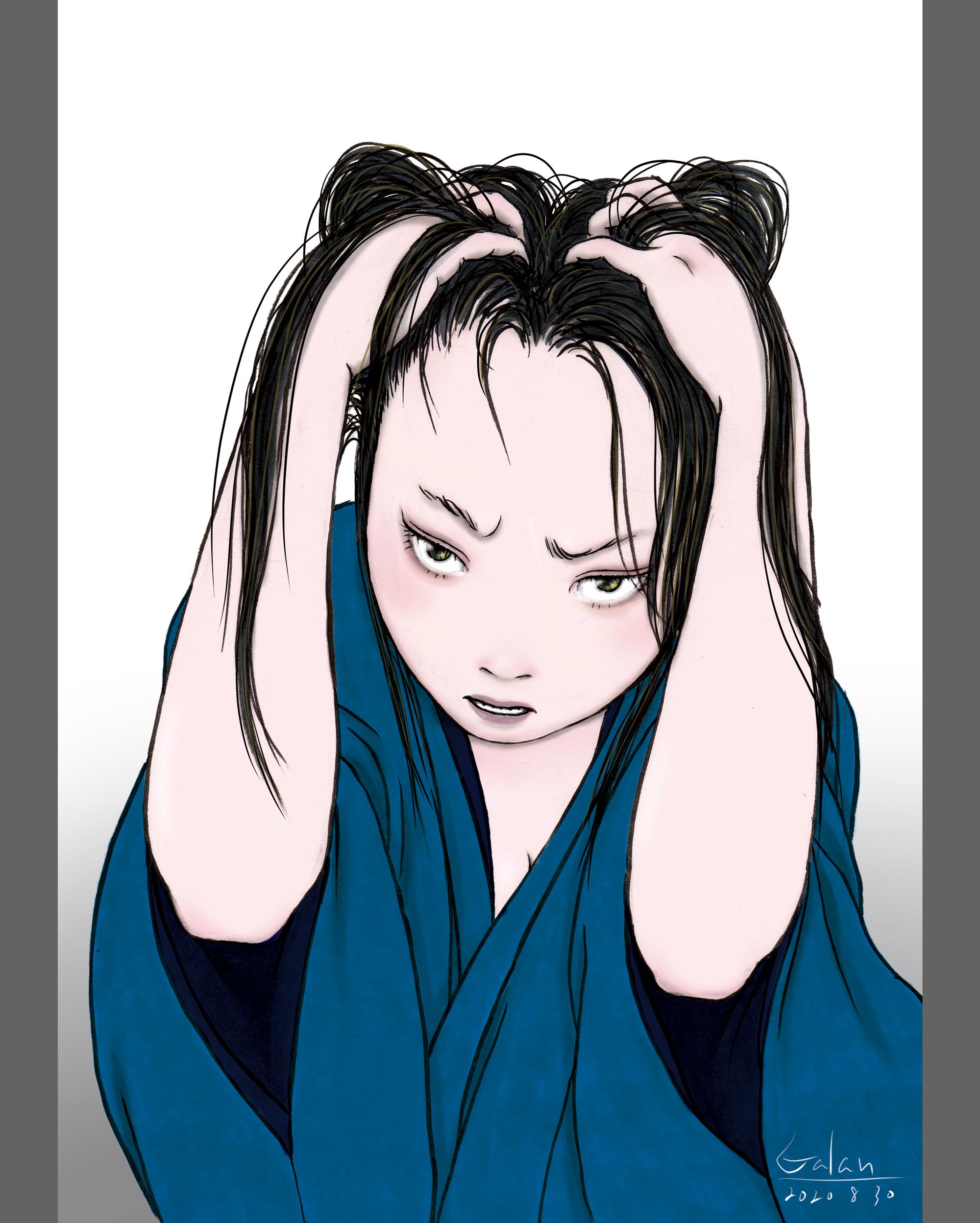 頭をかきむしる女(color) KAKIMUSHIRU