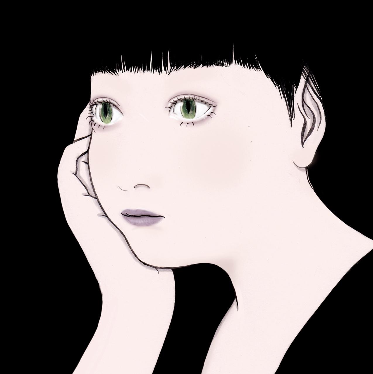 頬杖をつく女(妖怪)(color) HODUKE
