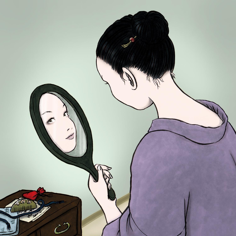 手鏡をも持つ女(color) TEKAGAMI