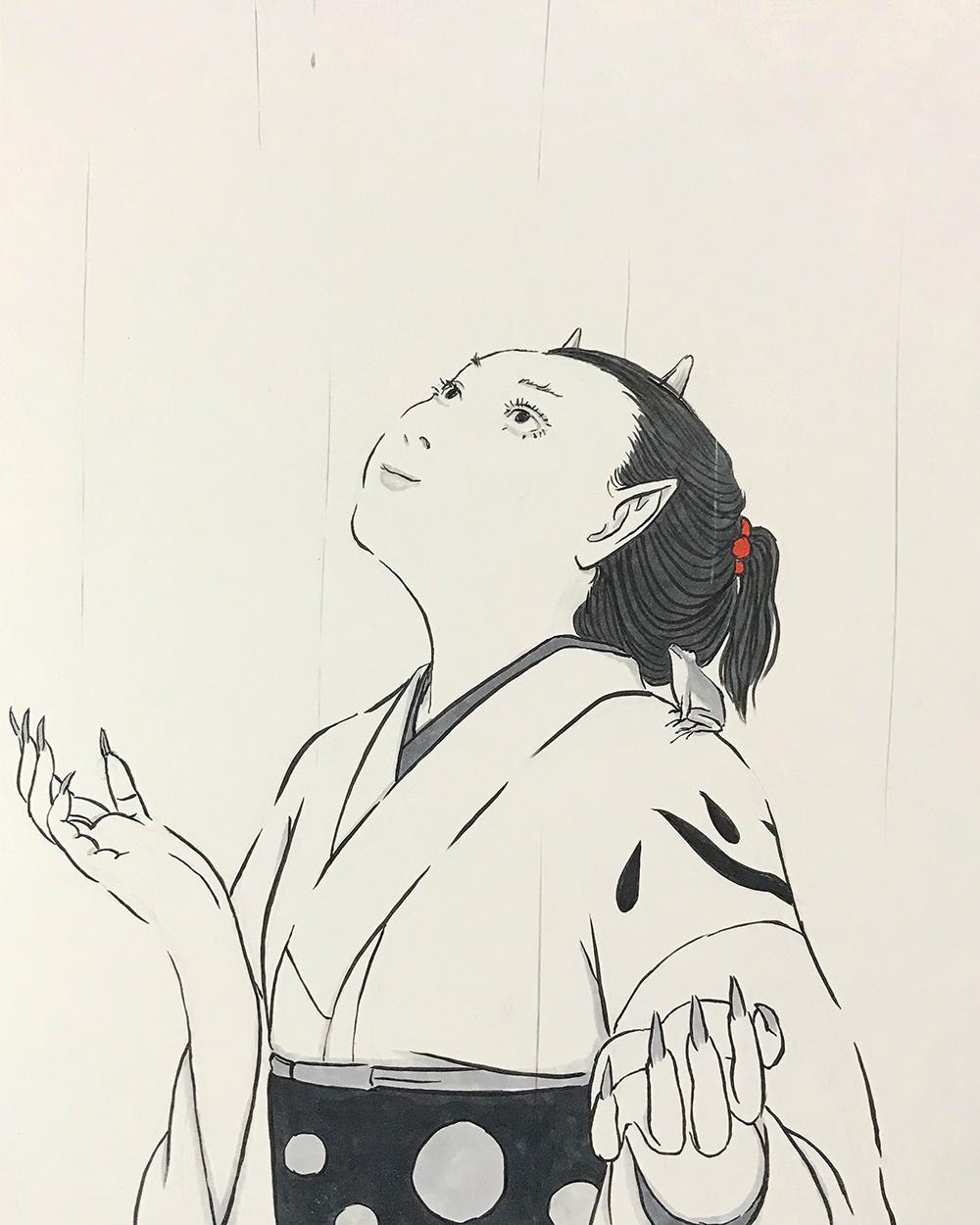 雨の中の鬼嫁(と蛙のおじさん) ONI