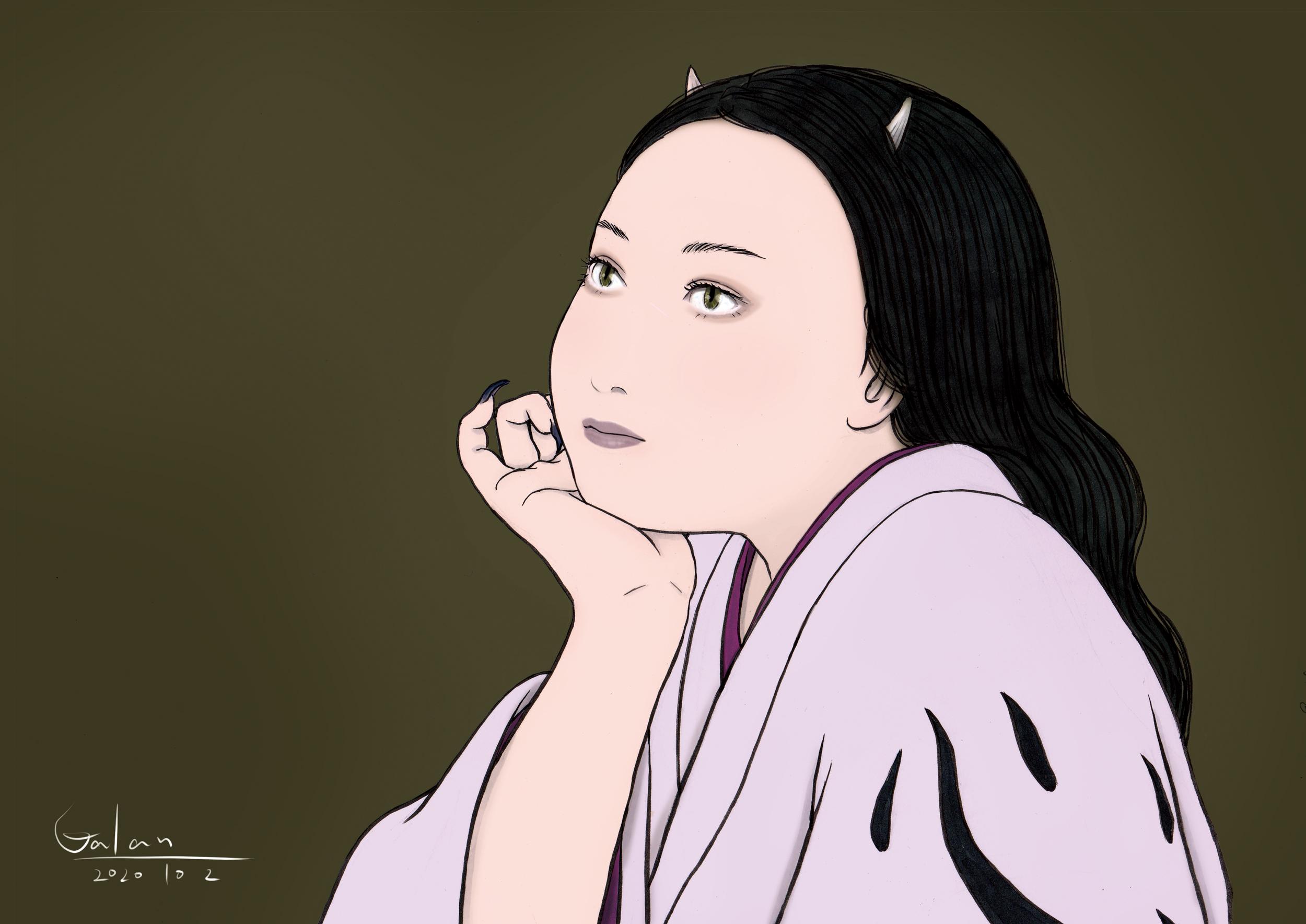 物思いにふける鬼嫁(color) ONIYOME