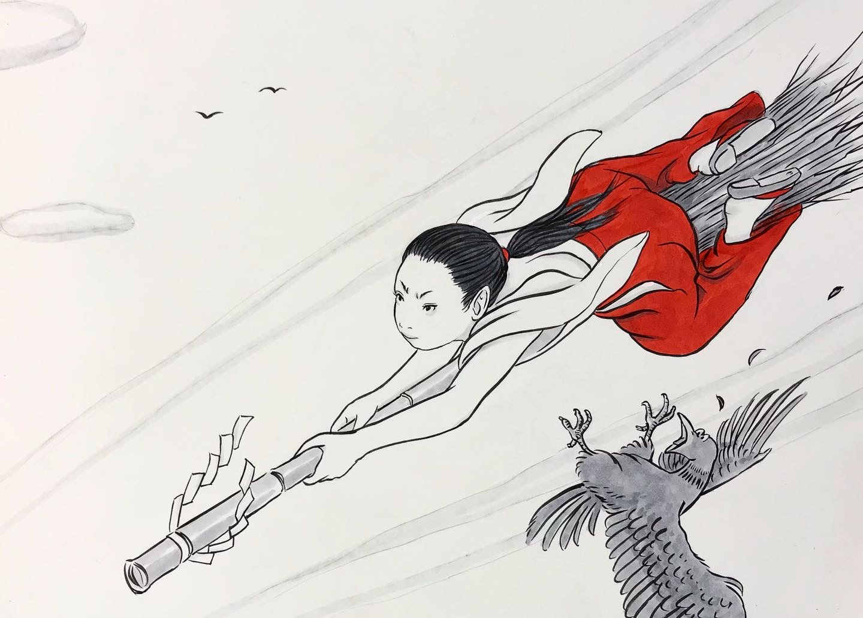 巫女さん寒空を飛ぶ! MIKOSAN