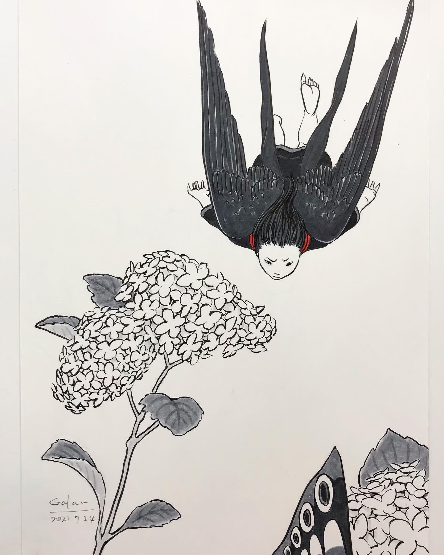 シン・紫陽花に燕 AJISAI AND TSUBAME