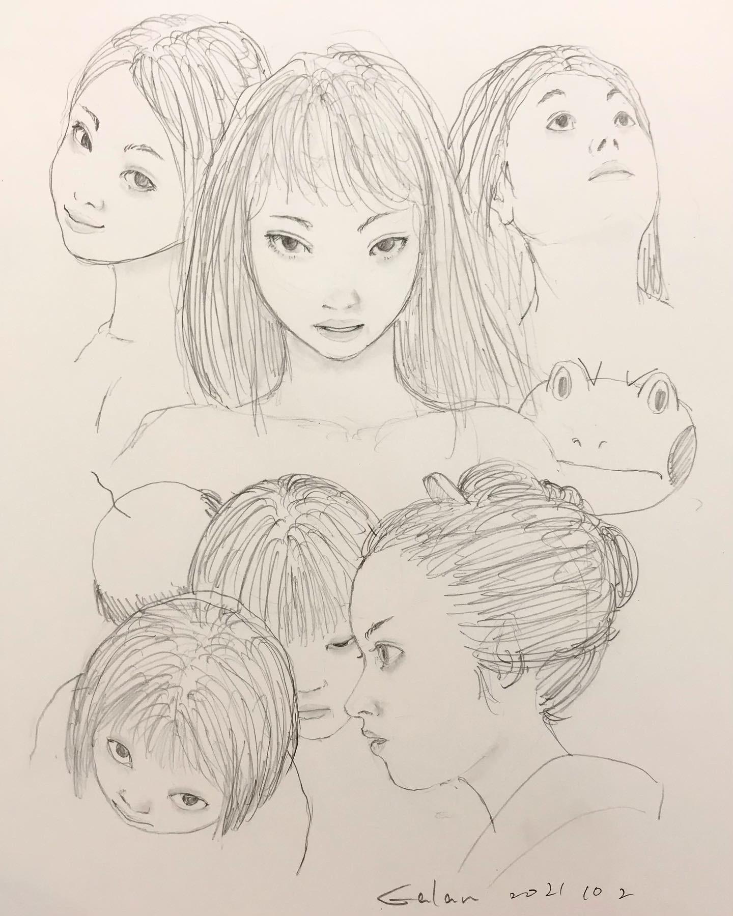 鉛筆で顔の練習 KAO-RENSYU